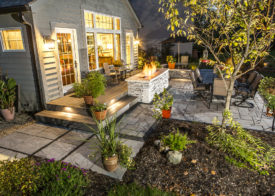 Beautiful patio lighting and firepit