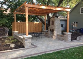 Wooden awning/ built in fire pit