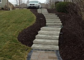 Nicely landscaped stairs and mulch